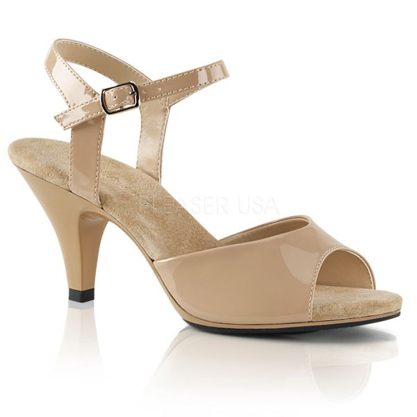 BELLE-309 Klassische Sandalette mit Riemchen nude Lack